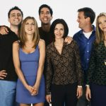 FRIENDS -- Season 4 -- Pictured: (back l-r) Matt LeBlanc as Joey Tribbiani, David Schwimmer as Ross Geller, Matthew Perry as Chandler Bing, (front l-r) Jennifer Aniston as Rachel Green, Courteney Cox as Monica Geller, Lisa Kudrow as Phoebe Buffay  (Photo by Gerald Weinman/NBC/NBCU Photo Bank via Getty Images)